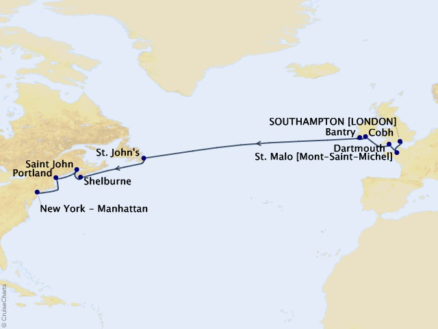 15-night Atlantic Panorama Voyage Itinerary Map
