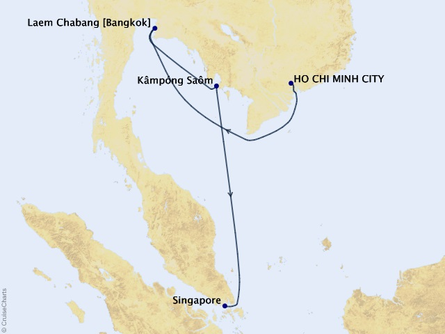 8-night Southeast Asia Soiree Getaway Cruise Map