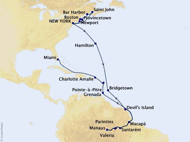 31-night Grand Journey – New England, Amazon, & the Tropics Cruise Map