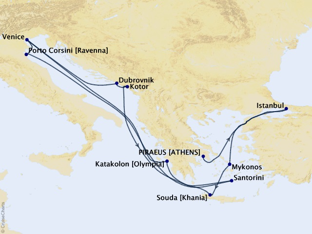 14-night Aegean Sunsets and Adriatic Gems Cruise Map