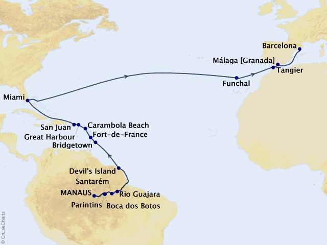 30-night Route of the Galleons Cruise Map