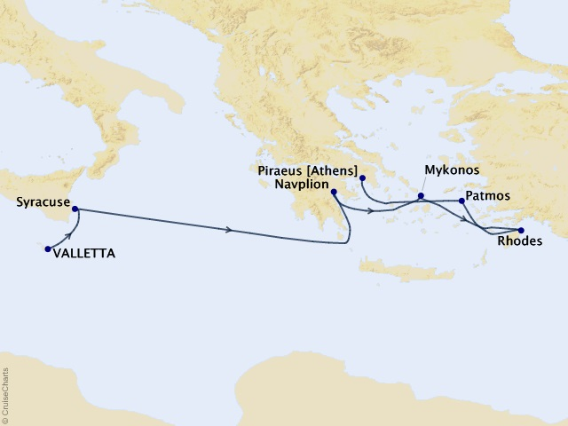 7-night Mediterranean Isles Cruise Map