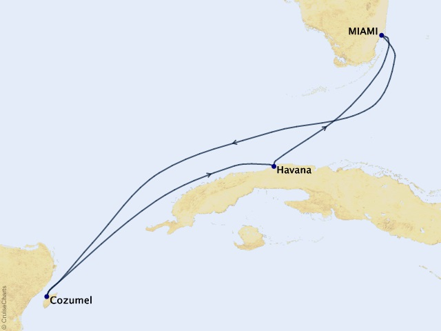 6-night Havana & Cozumel Voyage Map