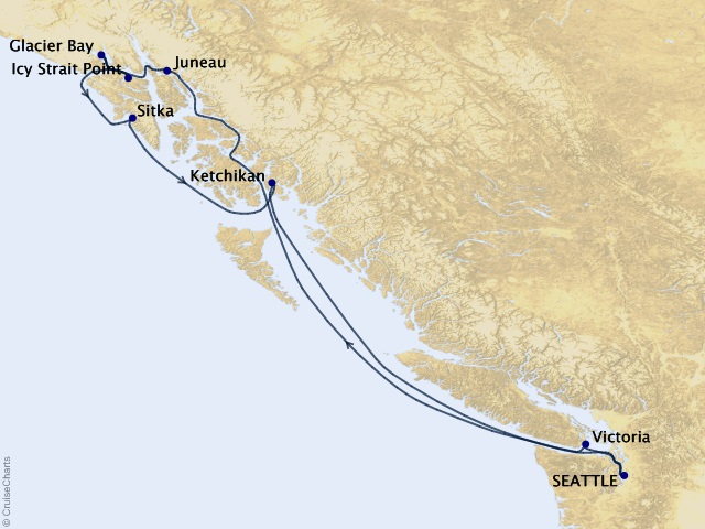 7-night Alaskan Explorer Cruise Itinerary Map