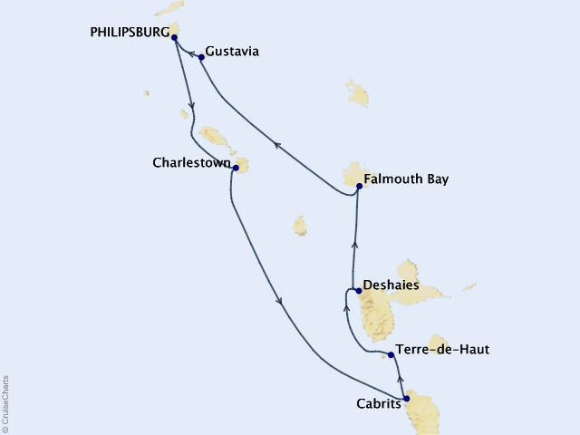 7-night Leeward Islands Cruise Map