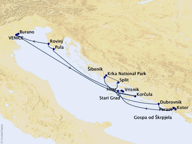 9-night Venice & the Dalmatian Coast Cruise/Land Package Map