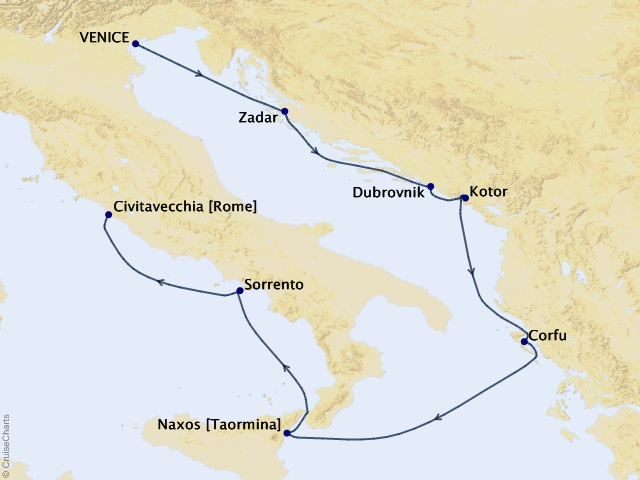 7-night Romance of Rome Cruise Map