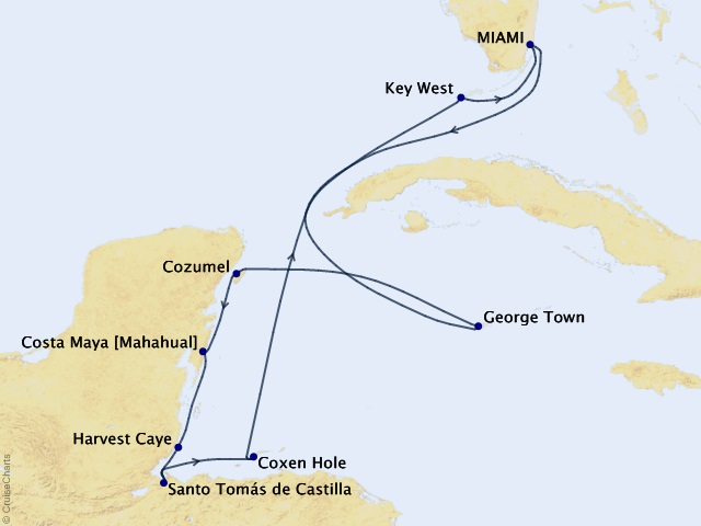 10-night From Riviera to Hemingway Cruise Map