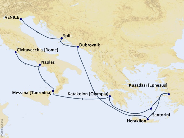 Mediterranean Collage Voyage Map