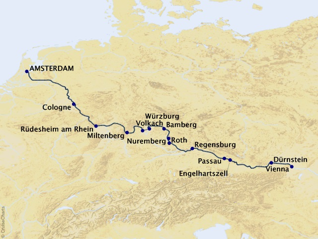 14-night Alluring Amsterdam & Vienna Cruise Map