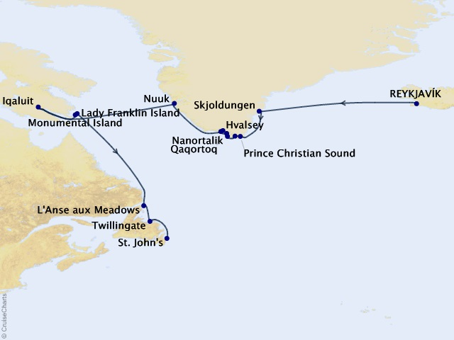 15-night Arctic and Greenland Expedition Cruise Map
