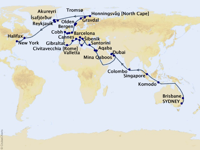71-night 2022 World Cruise Liner – Sydney to New York Cruise Map