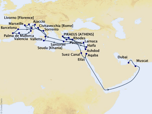 49-night Sacred Paths & Ancient Empires Cruise Map