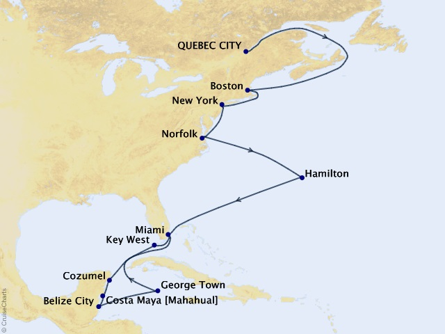 22-night Colonial Coastlines & Colorful Islands Cruise Map