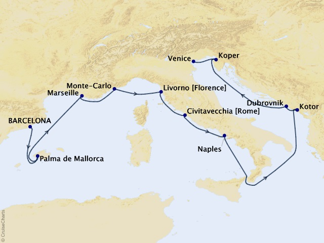 12-night Mediterranean Classics Voyage Map