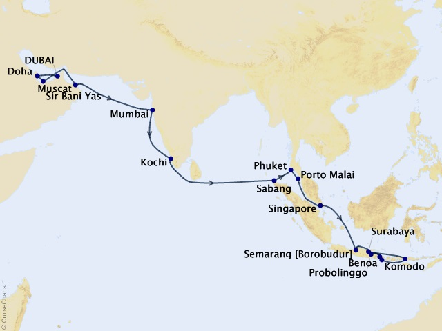 28-night Gems of the Spice Route Cruise Map