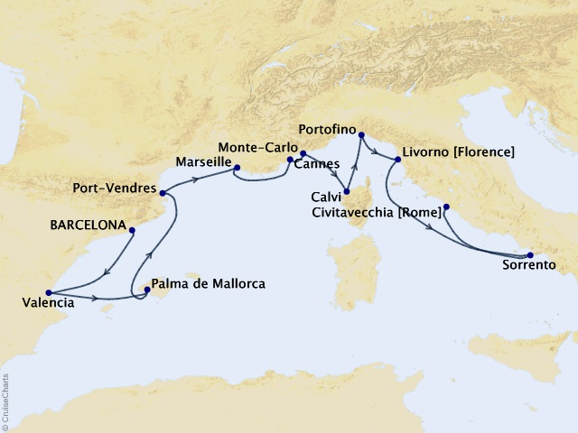 14-night Mediterranean Interlude Cruise Map