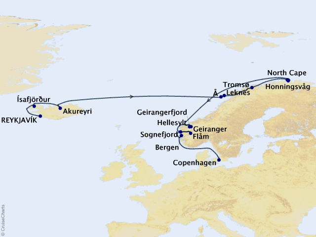 16-night North Cape Panorama Cruise Map