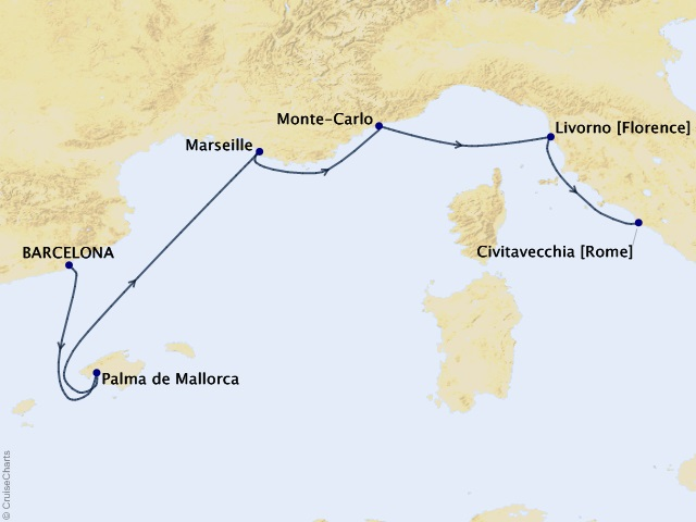 7-night Mediterranean Arts Cruise Map