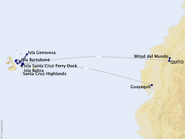 7-night Galápagos – Wildlife Wonderland Cruise/Land Package Map