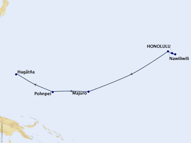 13-night Pacific Island Paradise Cruise Map