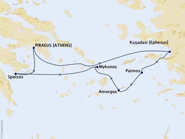 7-night Northern Cyclades Cruise Map