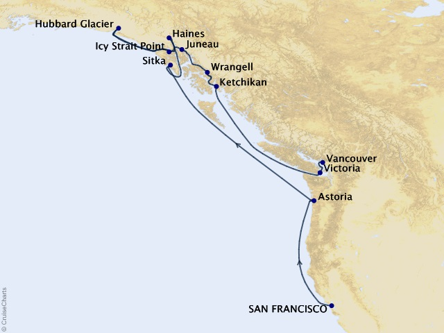 13-night Pacific Northwest Summer Cruise - World Cruise Segment 9 Map