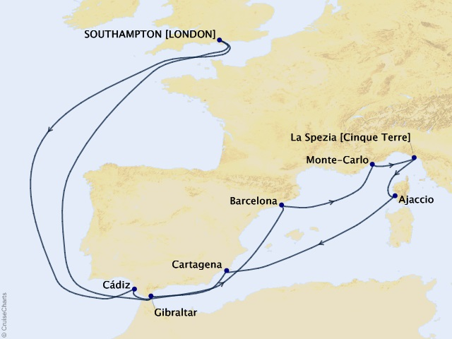 14-night Barcelona and Monte Carlo Cruise Map