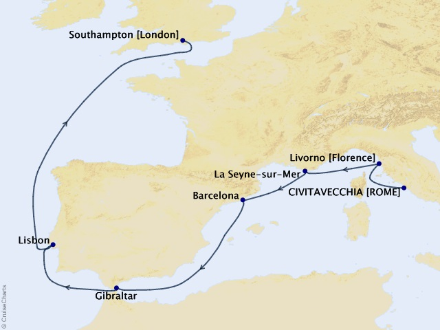 9-night European Explorer Preview Voyage Itinerary Map