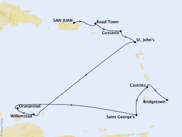 10-night Eastern & Southern Caribbean Cruise Map