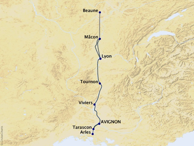 7-night Burgundy & Provence Cruise Map