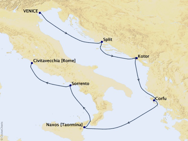 7-night Mediterranean Vistas Cruise Map