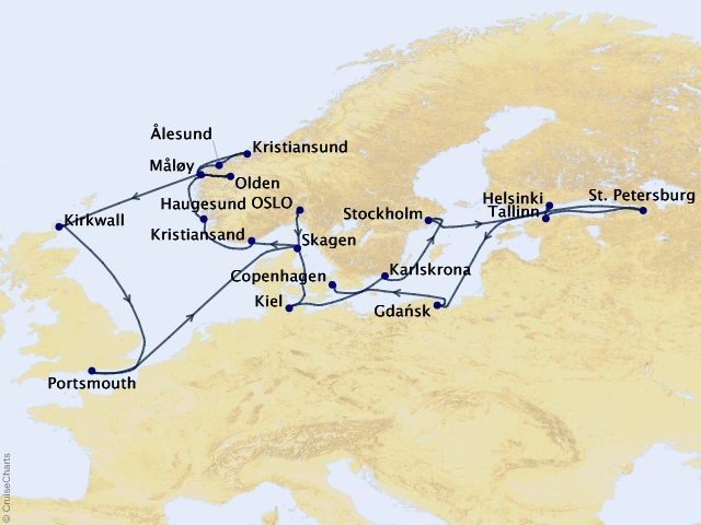 22-night Northern Europe Charms Voyage Map