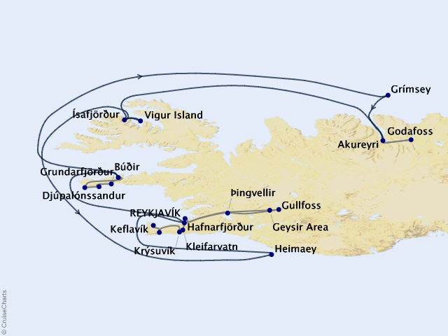 7-night Iceland: Land of Fire & Ice Cruise Map