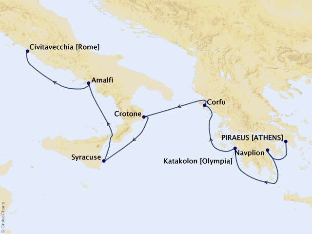 7-night Greek & Italian Isles Odyssey Cruise Map