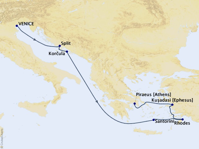 7-night Greek Enchantment Cruise Itinerary Map