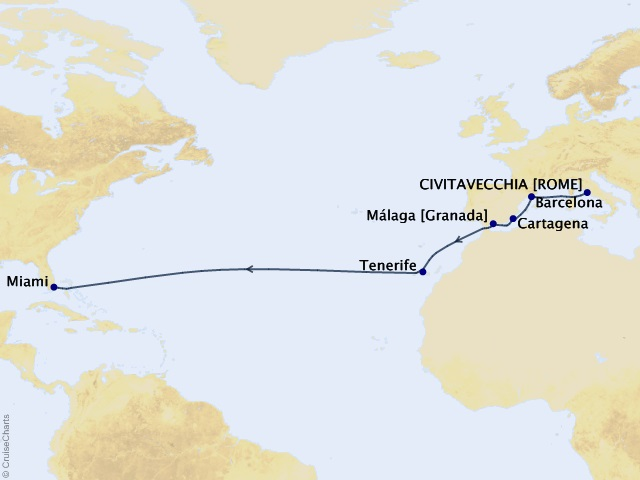 14-night Spain and Canary Islands Westbound Transatlantic Cruise Map