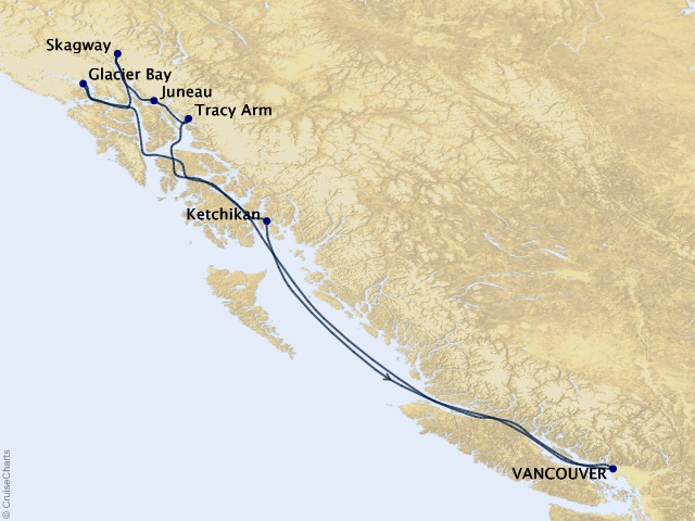 7-night Alaskan Inside Passage Cruise Itinerary Map