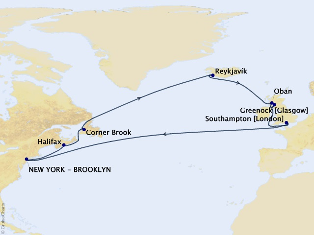 21-night Transatlantic Crossing, Iceland, & North America Cruise Map