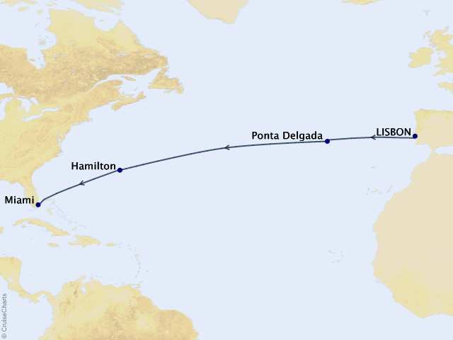 Mid-Atlantic Crossing Cruise Map