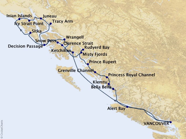 12-night Ultimate Alaska & Inside Passage Cruise Map