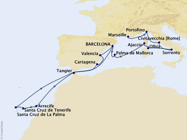 17-night Spanish Exploration Cruise Map