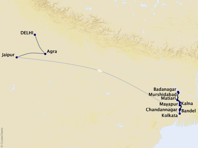 12-night India's Golden Triangle & the Sacred Ganges Cruise/Land Package Map