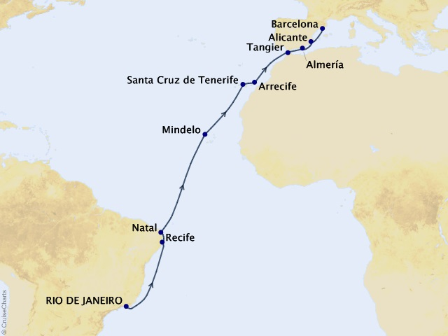 Southern Crossing Voyage Map