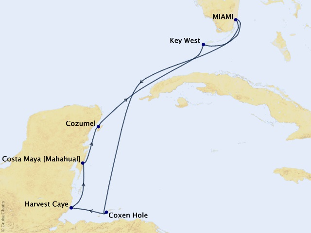 7-night Belize to the Florida Keys Cruise Map