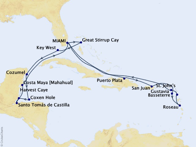 20-night A Tropical New Year Cruise Itinerary Map