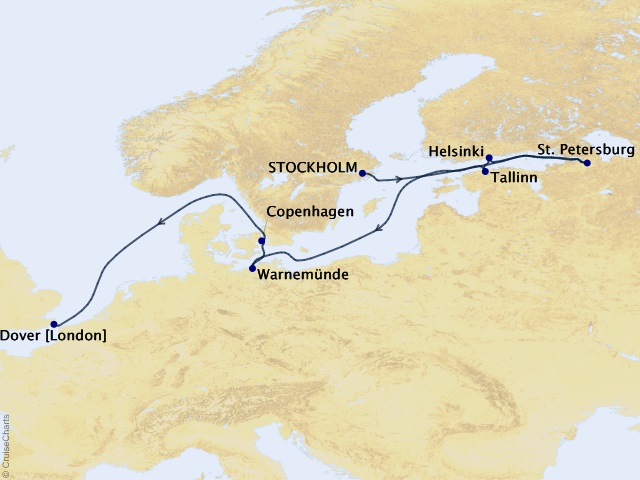 12-night Baltic Capitals & Cultures Cruise Map
