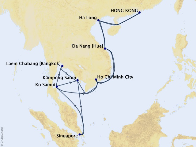 30-night Far East Fascinations Cruise Map