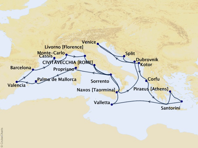 28-night Emperors & Icons Cruise Map