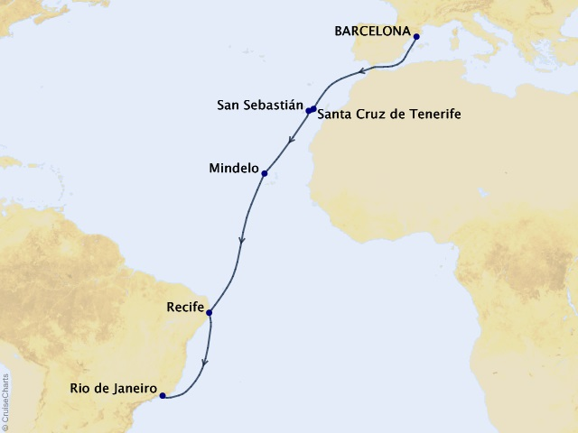 14-night Catalonia and Canaries Voyage Map
